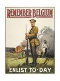 Remember Belgium - Enlist To-day' a Recruitment and Propaganda Poster Digitálně vytištěná reprodukce