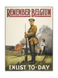 Remember Belgium - Enlist To-day' a Recruitment and Propaganda Poster - Giclee Baskı