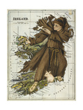 Map Of Ireland Representing St Patrick Driving Out the Snakes Giclee Print by Lilian Lancaster