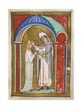 Miniature Of Cuthbert Anointing an Ill Girl With Holy Oil and Healing Her Immediately Giclee Print by  Bede