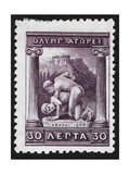 Two Men Wrestling. Greece 1906 Olympic Games 30 Lepta, Unused Giclee Print