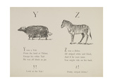 Yak and Zebra Illustrations and Verses From Nonsense Alphabets Drawn and Written by Edward Lear. Giclee Print by Edward Lear