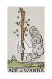 Tarot Card With a White Hand Holding a Large Wand With a Cloud Of Smoke Giclee Print by Arthur Edward Waite