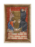 Miniature Of Cuthbert Building His Hermitage With the Help Of an Angel On the Island Of Farne Giclee Print by  Bede