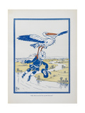 """The Stork Carried Him Up Into the Air"". a Stork Carrying the Scarecrow Giclee Print by William Denslow"