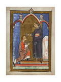 Miniature Of a Monk Healing the Eye Of a Youth by Touching It With Hairs From Cuthbert's Head Giclee Print by  Bede