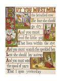 A Cow Being Milked by a Maid. a Nursery Rhyme. Giclee Print