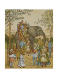 Children Being Given a Ride On an Elephant at London Zoo. Illustration From London Town' Giclee Print by Thomas Crane