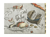 Sea Monsters Attacking a Ship Giclee Print by Abraham Ortelius