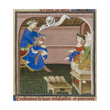 Detail Of a Miniature Of Solomon Seated With a Scroll Giclee Print by Guyart Des Moulins