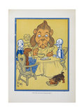 The Lion Ate Some Of the Porridge. the Cowardly Lion Giclee Print by William Denslow