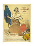 A French Woman Holding a Tricolour Giclee Print