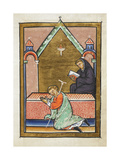 Miniature Of a Sick Man Being Healed While Praying at Cuthbert's Tomb Giclee Print by  Bede