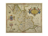 Map Of Lancashire Giclee Print by Christopher Saxton