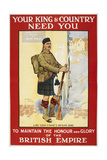 Your King and Country Need You'. a Recruitment Poster Showing a Scottish Soldier - Giclee Baskı