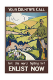 Your Country's Call ...' a Recruitment Poster Showing the British Countryside Giclée-vedos