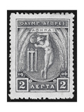 A Discus Thrower. Greece 1906 Olympic Games 2 Lepta, Unused Giclee Print