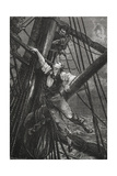 Passepartout Climbing the Mast Of a Ship. Illustration To the Novel Giclee Print by M.M. De Neuville