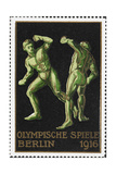 Two Wrestlers. Germany 1916 Berlin Olympic Games Poster Stamp, Unused Giclee Print