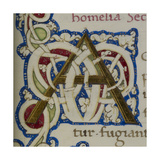 An Alphabet Initial Ornamental Letter From a Religious Text a Life Of Christ Beati Giclee Print