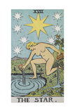 Tarot Card With a Nude Woman by a Lake With Vessels Of Water. Stars Shine Overhead Giclee Print by Arthur Edward Waite