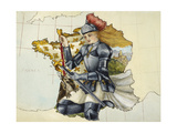 Unfinished Map Representing Joan Of Arc On the Map Of France. Giclee Print by Lilian Lancaster