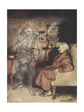 Illustration Of Scrooge With the Ghost Of Christmas Past Giclee Print by Arthur Rackham