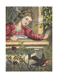 A Robin Flying Away From a Girl at a Window Giclee Print