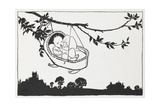 Baby in a Cot Hanging From a Branch Giclee Print by Arthur Rackham
