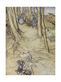 Jack and Jill - Two Children Fetch a Pail Of Water and Fall Down a Hill Giclee Print by Arthur Rackham