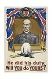He Did His Duty. Will You Do Yours ' a British Recruitment Poster Giclee Print