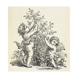 Two Cherubs With a Rose Bush Giclee Print
