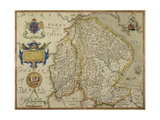 Map Of Lincolnshire and Nottinghamshire Giclee Print by Christopher Saxton