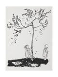 Two Children Try To Get a Cat Down From a Tree Giclee Print by Arthur Rackham