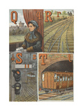 Alphabet: Q For Queen, R For Rails, S For Signal and Signal Box, T For Train and Tunnel Giclee Print