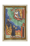 Miniature Of Monks at Cuthbert's Hermitage Signalling With Torches That Cuthbert Is Dead Giclee Print by  Bede