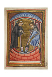 Miniature Of Cuthbert Digging a Water Pit With a Monk For His Hermitage On the Island Of Farne Giclee Print by  Bede