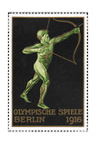 An Archer. Germany 1916 Berlin Olympic Games Poster Stamp, Unused Giclee Print