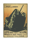 A French Poster Depicting a Tank Breaking Through Barbed Wire. Giclee Print