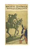 A French Propaganda Poster Showing 'Uncle Sam' Shaking Hands With the Statue Of a Horseman Giclee Print