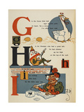 Alphabet Page: G, H and I: Goose Laid Golden Eggs, Humpty Dumpty, and Ink Used by Mother Goose Giclee Print by William Denslow