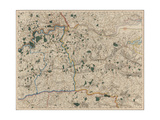 Map Showing Surrey and Kent Giclee Print