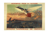 A French Propaganda Poster Showing a Woman Flying in the Air, Holding a Tricolor. Giclée-tryk