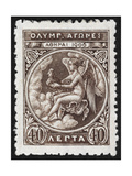 Daemon Or God Of the Games. Greece 1906 Olympic Games 40 Lepta, Unused Giclee Print