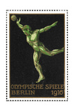 A Shot Putter. Germany 1916 Berlin Olympic Games Poster Stamp, Unused Giclee Print