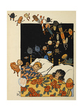 Two Children Asleep in Bed, Dreaming, On Christmas Eve Giclee Print by William Denslow