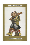 Line Up, Boys !' a Recruitment Poster Depicting Some Scottish Soldiers Giclee Print