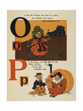 Alphabet Page: O and P. the Old Woman Lived in a Shoe. Peter Made a Home Of a Pumpkin Shell. Giclee Print by William Denslow