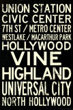 Los Angeles Metro Rail Stations Vintage Subway RetroMetro Travel Poster Photo