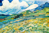 Vincent van Gogh Mountain Landscape behind the Hospital Saint-Paul Poster アートポスター : フィンセント・ファン・ゴッホ